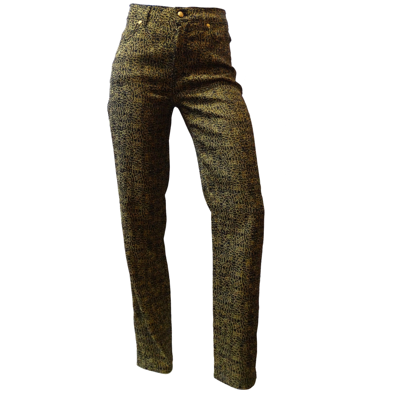 340930bdd3 1990s Versace Glitter Monogram Pants