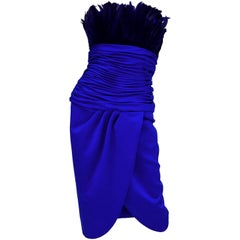 1980s Victor Costa Ultramarine Feather Cocktail Dress 2