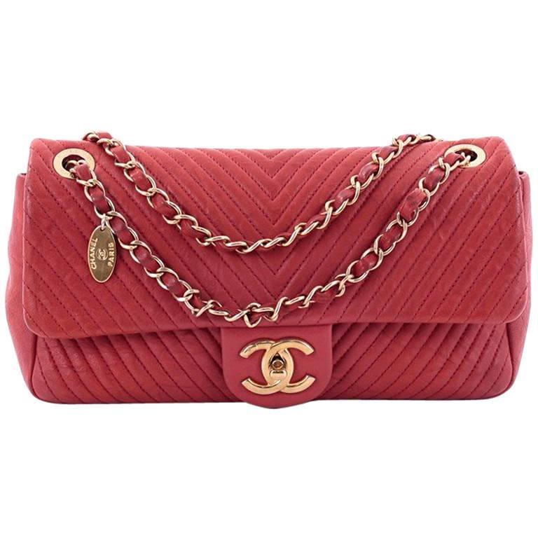 b28f4849f6c5 Chanel Medallion Charm Flap Bag Chevron Wrinkled Lambskin Medium For Sale