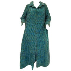 1960s Nina Ricci Haute Couture Angora and Velvet Turquoise Cape Coat