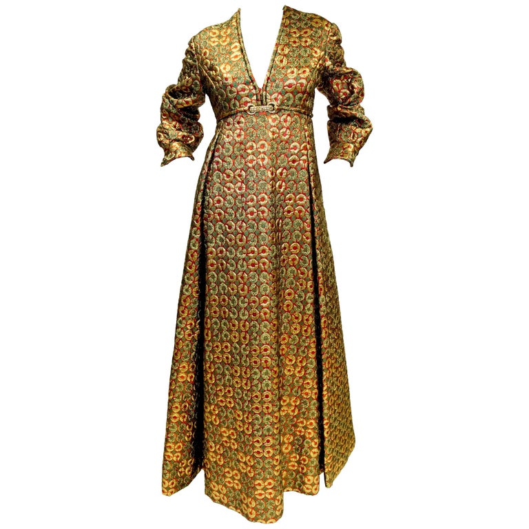 1970s Malcolm Starr Gold Green Metallic Maxi Dress  For Sale
