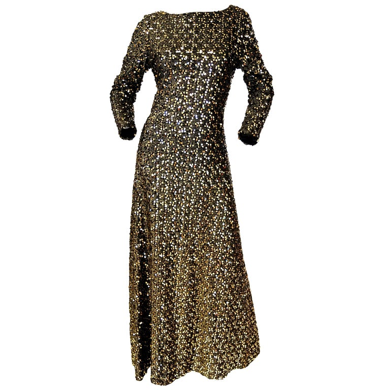 1970s Jill Richards Plunge Back Fully Sequined Black and Gold Evening Dress