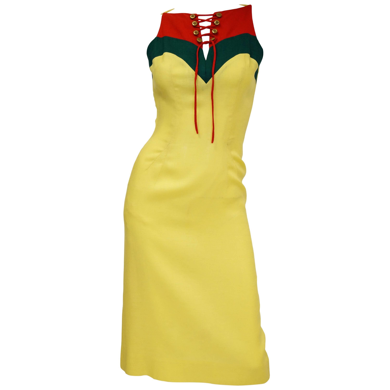 Oleg Cassini Lace Up Color Blocked Sheath Dress, 1970s