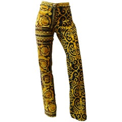 1990s Versace Gold and Black Baroque Pants
