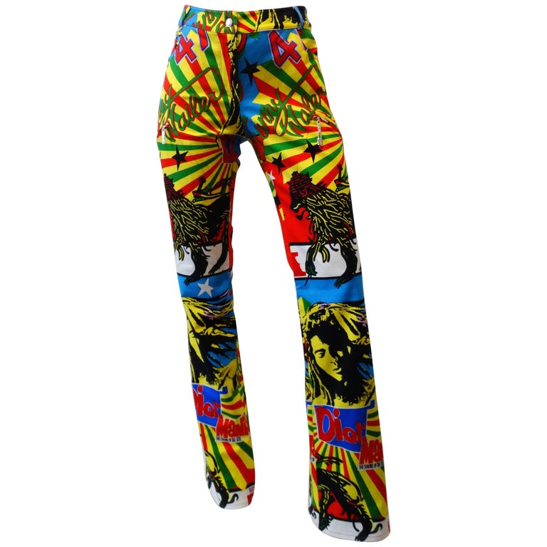 Christian Dior by John Galliano Rastafarian Marley Print Pants