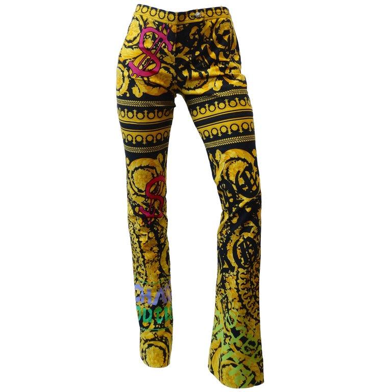 1990s Versace Colorful Printed Graffiti Money Pants