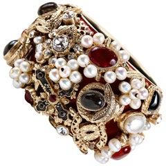 Chanel Jewel Encrusted Byzantine Collection Enamel Bangle Bracelet