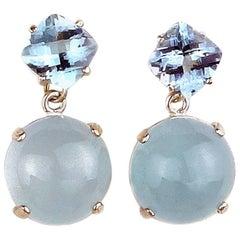 16 Carats Aquamarine Sterling Silver Dangle Stud Earrings