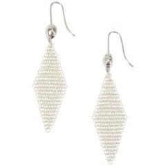 1981 Elsa Peretti Sterling Silver Mesh Earrings for Tiffany & Co.