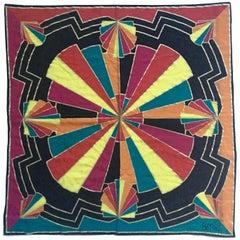 80'S Japanese Geometric Silk Scarf By, Designer Bob Mackie