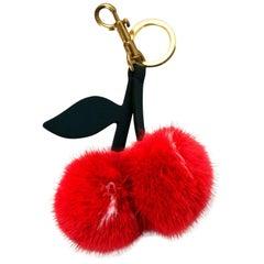 Anya Hindmarch Red Mink Cherry Key Ring/Bag Charm rt. $495