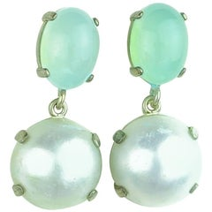 Chalcedony and Mabe Pearl Stud Sterling Silver Earrings