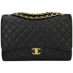 CHANEL Black Caviar Maxi Double Flap with Gold Hardware 2016