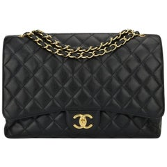 CHANEL Black Caviar Maxi Double Flap with Gold Hardware 2012