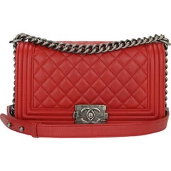 Chanel Old Medium Boy Red Calfskin with Ruthenium Hardware 2015
