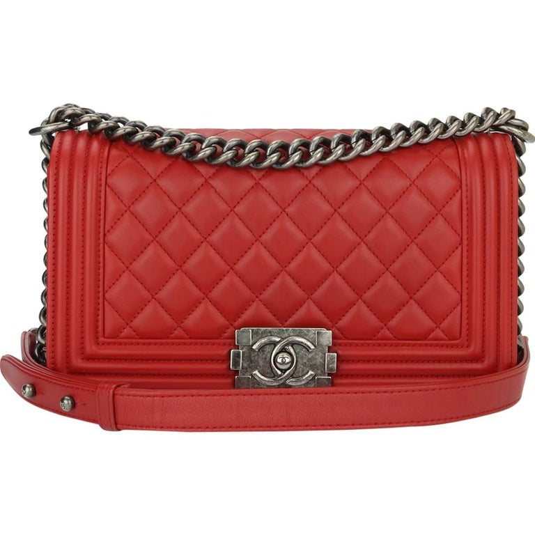 2577c78af46676 Chanel Old Medium Boy Red Calfskin with Ruthenium Hardware 2015 For Sale