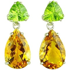 13 Carats of Peridot and Golden Citrine Sterling Silver Dangle Stud Earrings
