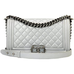 Chanel Old Medium Boy Silver Calfskin with Ruthenium Hardware 2014
