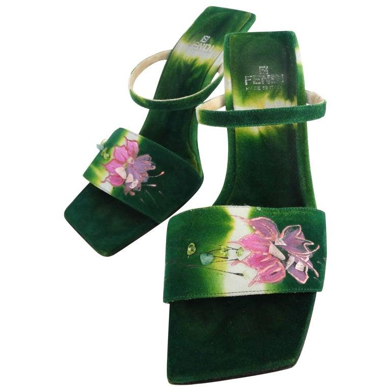 Fendi Green Suede Hand Painted Heels