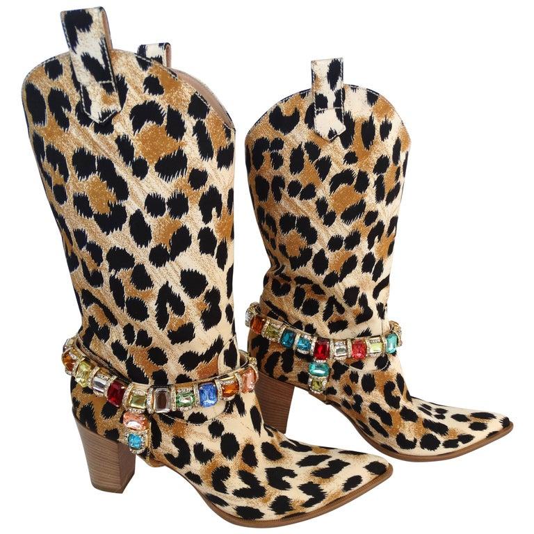 Casadei Leopard Canvas Rhinestone Cowgirl Boots