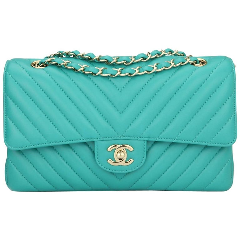 5c9fbaabee7a CHANEL Double Flap M/L Chevron Turquoise Lambskin Champagne Gold Hardware  2017 For Sale