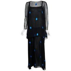 1972 Christian Dior Paris Metallic Black Blue Silk Chiffon Backless Draped Gown