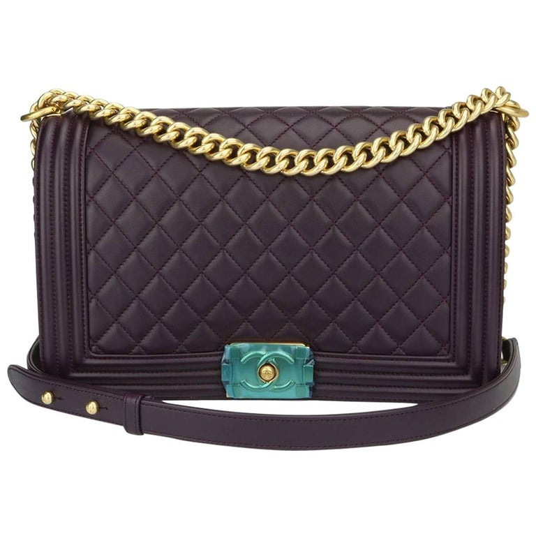 3cd47234abac20 Chanel New Medium Boy Dark Purple Lambskin with Brushed Gold Hardware 2016  For Sale