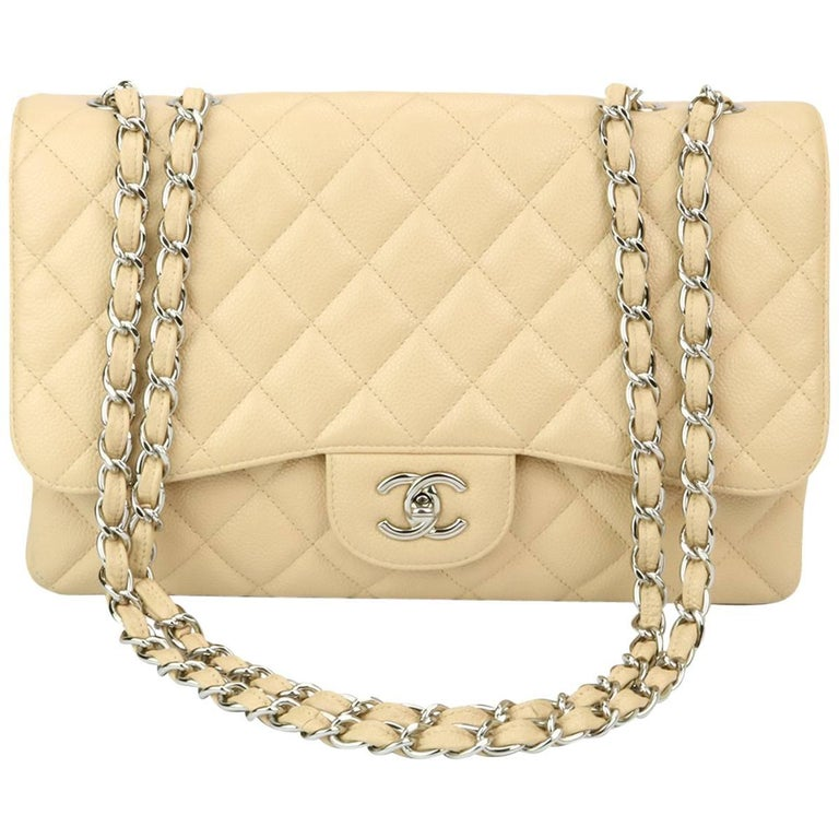 CHANEL Single Flap Jumbo Beige Clair Caviar with Silver Hardware 2009