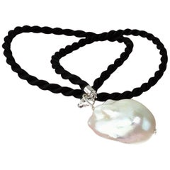 White Baroque Pearl Pendant on Black Cord