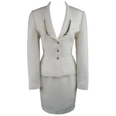 Thierry Mugler Cream Silver Enamel Stud Shawl Collar Skirt Suit, Size 10