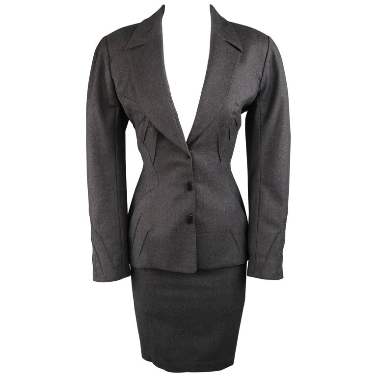 Thierry Mugler Grey Wool Piping Detailed Skirt Suit, Size 10