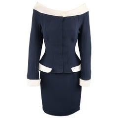 THIERRY MUGLER Size 10 Navy & White Off The Shoulder Portrait Collar Skirt Suit