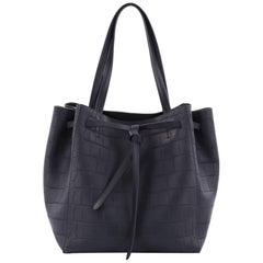 Celine Phantom Tie Cabas Tote Crocodile Embossed Leather Small