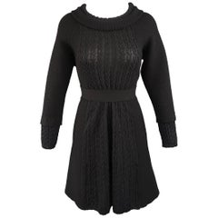 Chanel Dress - Size 8 - Black Wool Knit Textured Panel Lion Head Button A Line