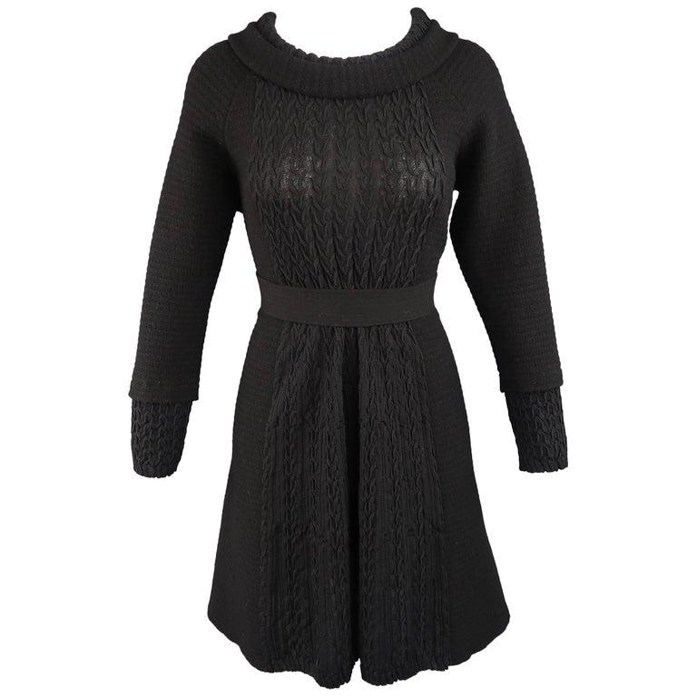 Chanel Dress - Size 8 - Black Wool Knit Textured Panel Lion Head Button A Line