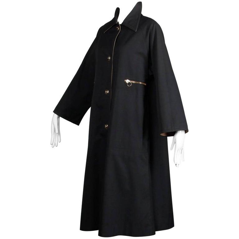 Bonnie Cashin for Russ Taylor Vintage Black and Tan Rain Coat, 1970s