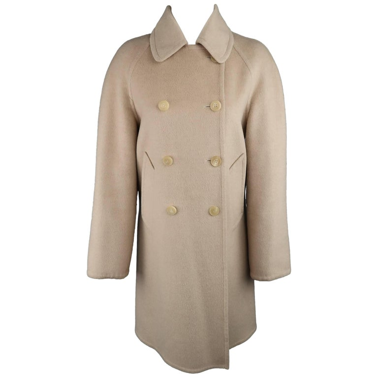 Hermes Vintage Size 6 Beige Camel Hair Double Breasted Car Coat