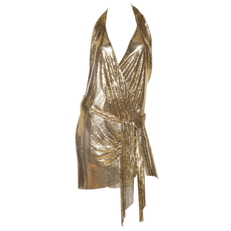 Morphew Backless Gold Metal Mesh Dress
