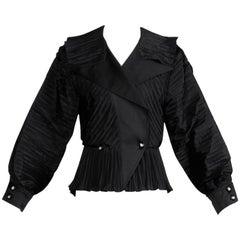 1980s Bernard Perris Vintage Black Origami Pleats Silk Avant Garde Tuxedo Jacket