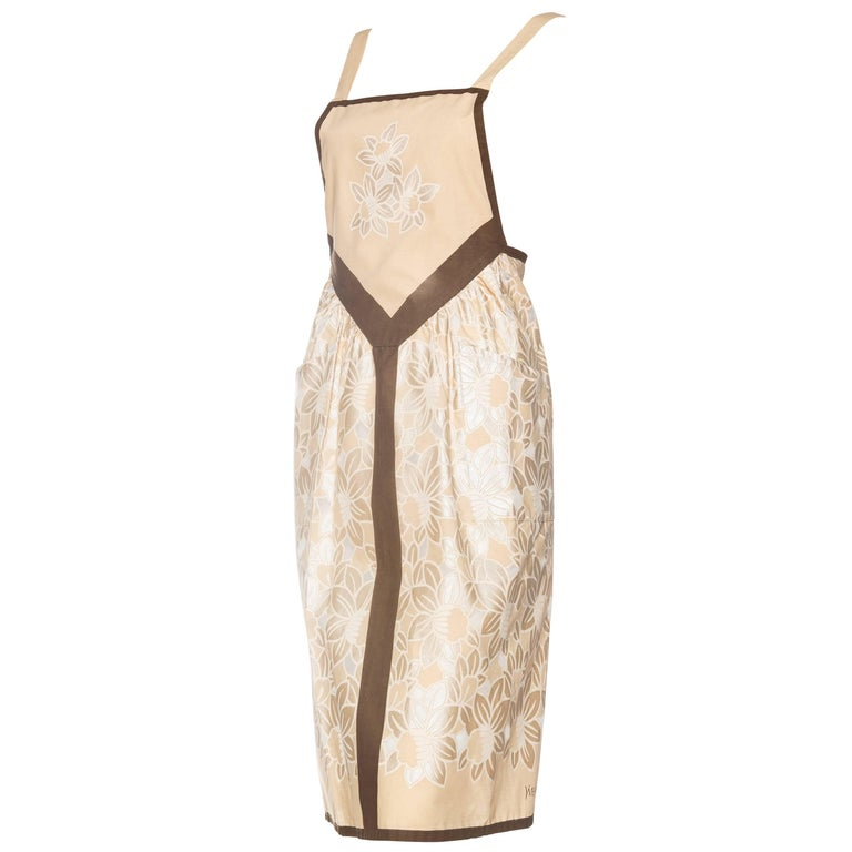 1970s YSL Yves Saint Laurent Floral Apron Dress