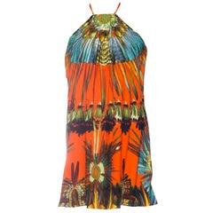 Jean Paul Gaultier Parrot Feather Print Halter Tunic