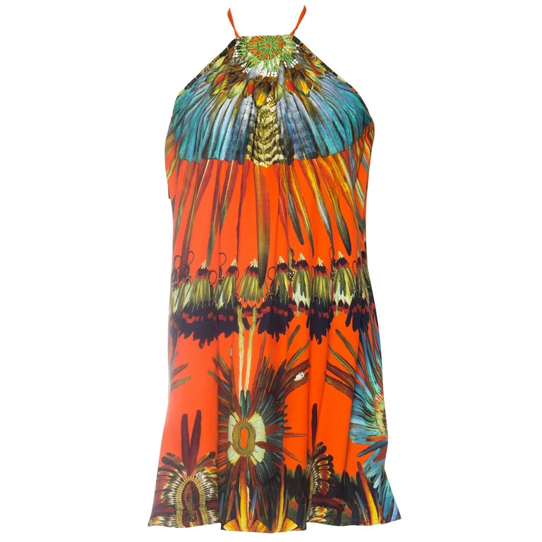 Jean Paul Gaultier Parrot Feather Print Halter Tunic