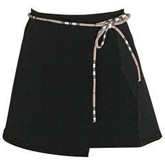 New Burberry Black with Plaid Trim Swim Cover Up Wrap Skirt