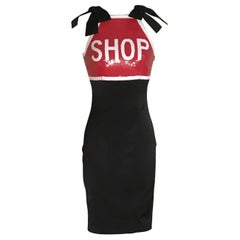 New Moschino Couture Shop Stop Sign Dress Black with Red and White Sequins