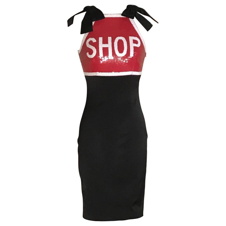 Moschino Couture Shop Stop Sign Dress Black with Red and White Sequins