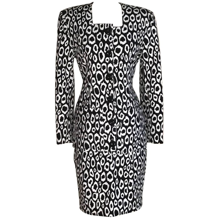 Patrick Kelly Black and White Animal Print Skirt Suit, 1980s