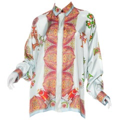 1990s Gianni Versace Baroque Crystal Cross Silk Shirt