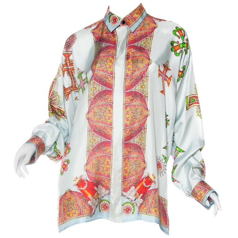 1990s Gianni Versace Baroque Crystal Cross Silk Shirt