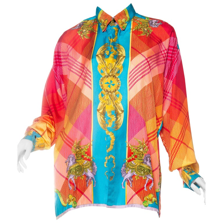 1990s Gianni Versace Baroque Silk Blouse