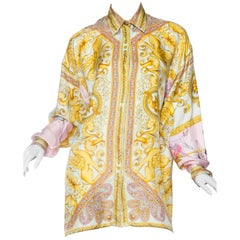 1990s Gianni Versace Gold Baroque Print Blouse